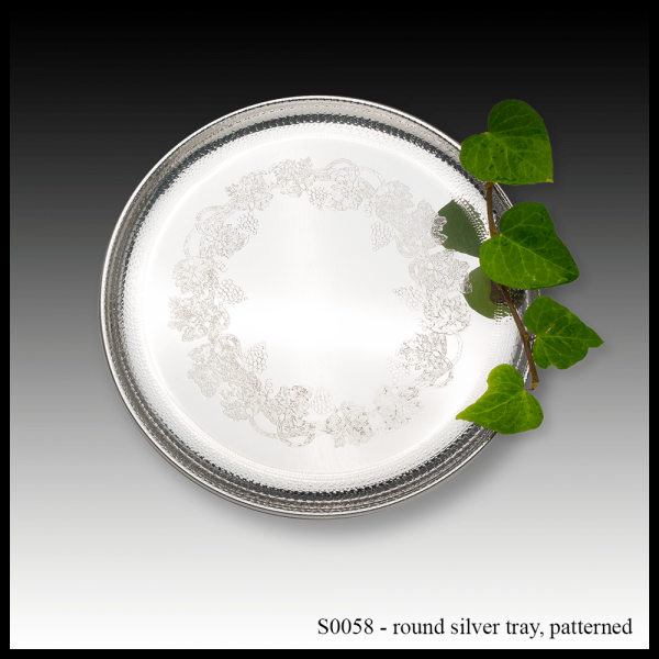 S0058P Round Silver Tray – Patterned-min
