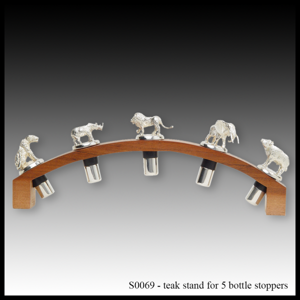 S0069 teak stand for 5 bottle stoppers