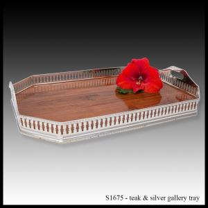 S1675 teak & silver gallery tray rectangular