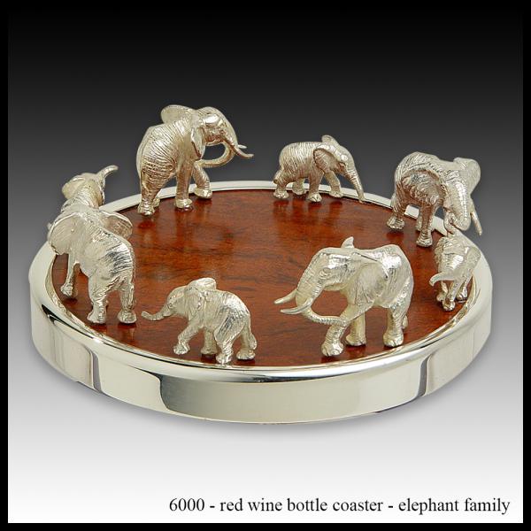 S6000 red wine bottle coaster – elephant family