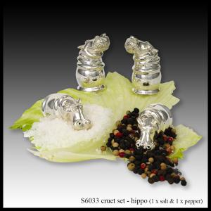 silver cruet set hippo
