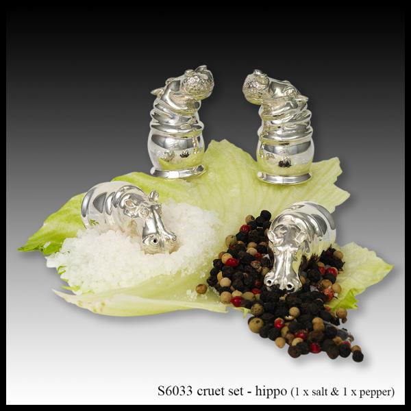 S6033 silver cruet set – hippo