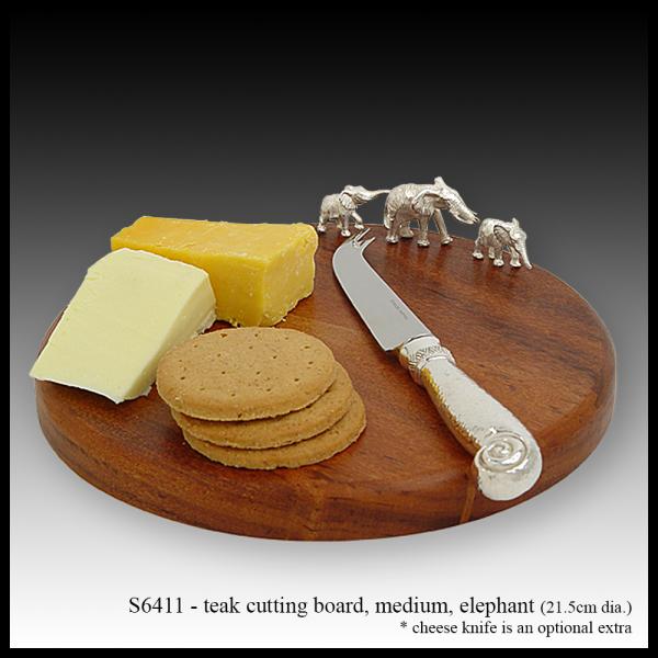 S6411 teak cutting board medium – elephant