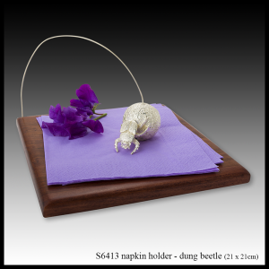silver & teak napkin holder dung beetle
