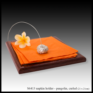 silver & teak napkin holder pangolin curled