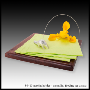 silver & teak napkin holder pangolin feeding