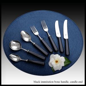 Black immitation bone handle - candle end