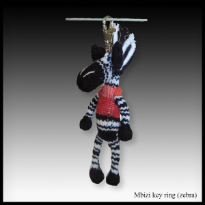 Mbizi the Zebra key ring