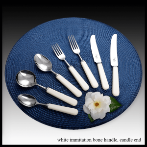 Cream immitation bone handle cutlery - candle end