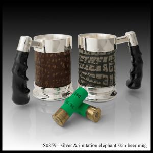 S0859 Silver & Imitation Elephant Skin Beer Mug
