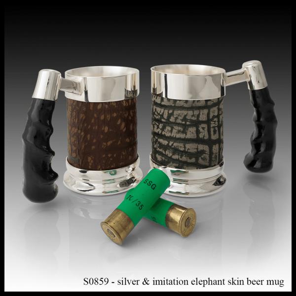S0859 Silver & Imitation Elephant Skin Beer Mug-min