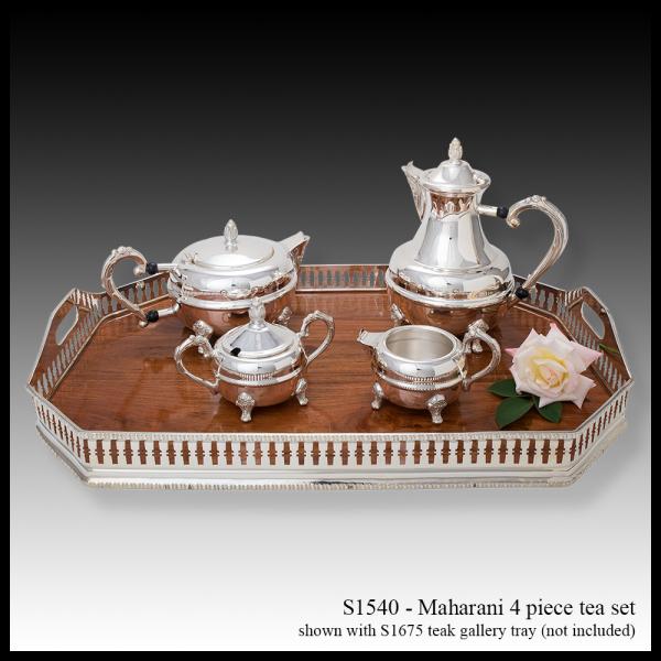 S 1540 Maharani Tea Set & S1675 Teak Gallery Tray
