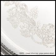 S0058P Round Silver Tray – Grape Pattern Detail-min