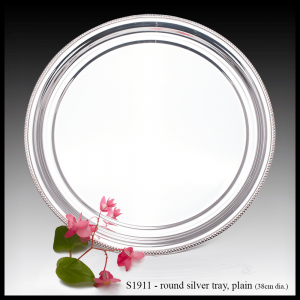 S1911 round silver tray plain