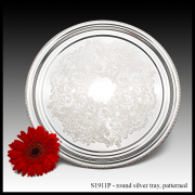 S1911P Round Silver Tray – Patterned-min