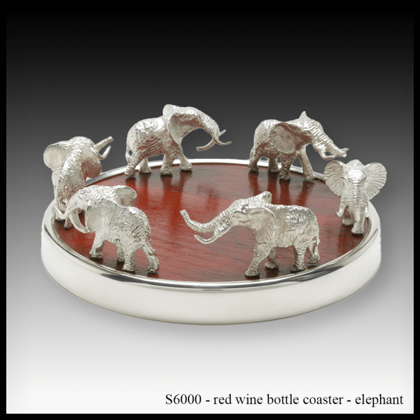 S6000 red wine bottle coaster – elephant