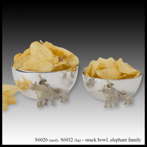 silver snack bowl elephant