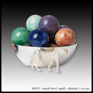 silver snack bowl cheetah