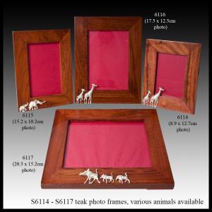 silver & teak photo frame